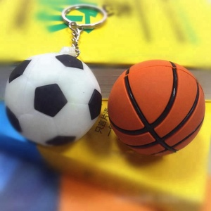 Custom plastic rubber 3d foot ball key chain basketball shaped keychain from China supplier