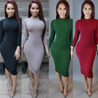 or10555h Europe long sleeve evening dress pure color dresses women lady autumn clothes