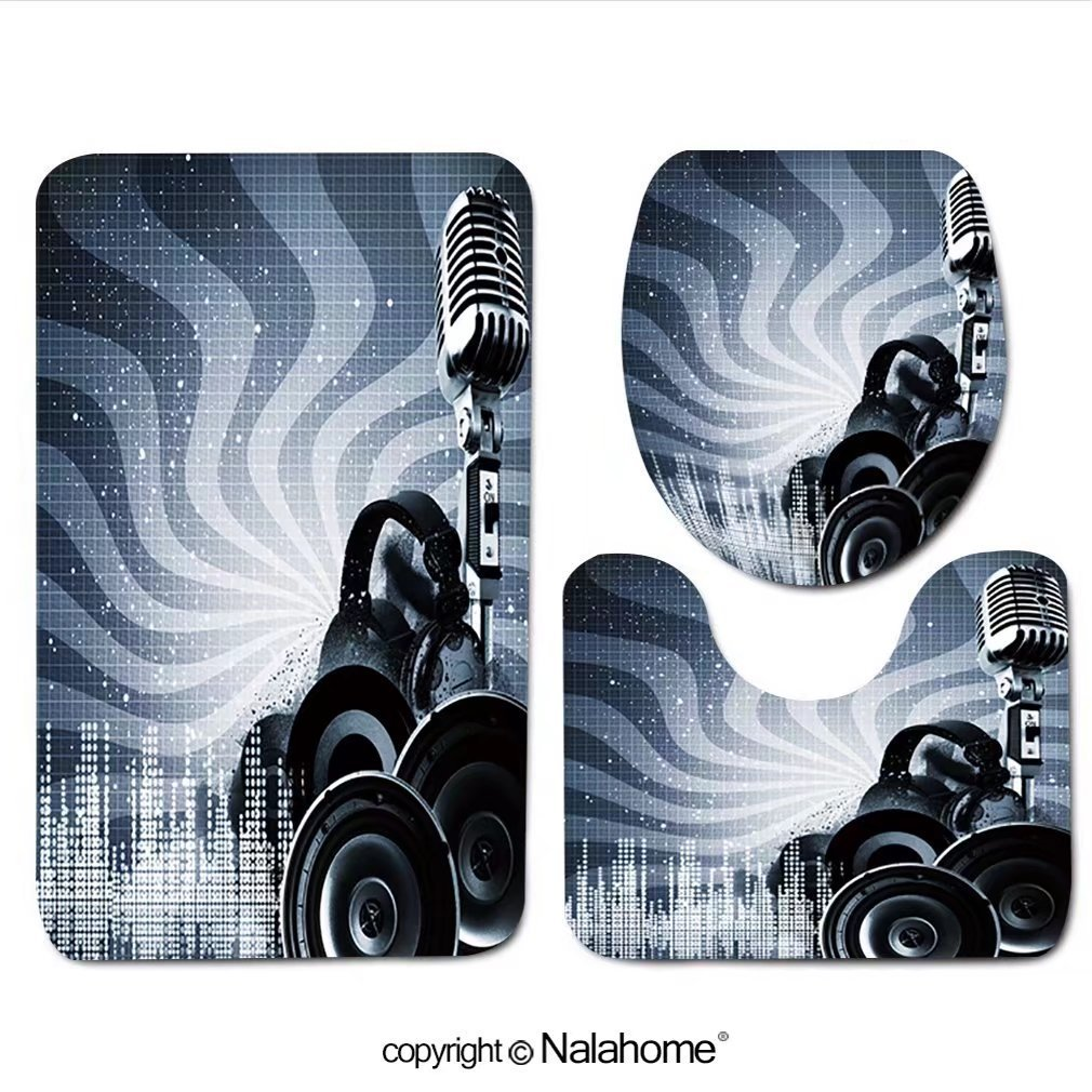 """3 Piece Bath Rug Set Nalahome design-114996949 Abstract DJ backgrounds with copy-s Bathroom Rug(15.7""""x23.62"""")/large Contour Mat(15.7""""x15.7"""")/Lid Cover(15.7""""x16.9"""")For Bathroom(brown)"""
