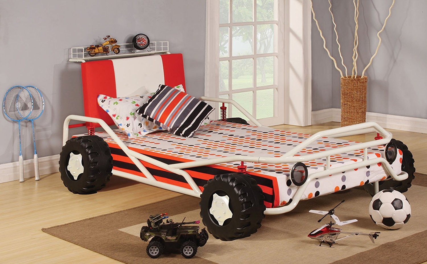 HomeRoots Twin Bed, White & Red Racing Car - Metal Tube, MDF, PU, 25Kg White & Red Racing Car