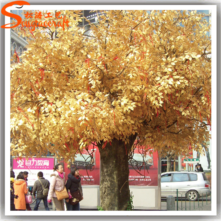 Artificial Wedding Wishing Tree Autumn Yellow Gold Wish Trees Fake Plastic Banyan Ficus Plant Party Hotel