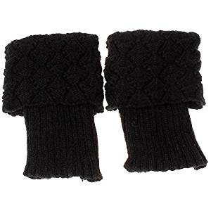 Socks - SODIAL(R)Women Crochet Knitted Trim Boot Cuffs Toppers Liner Leg Warmer Socks Color:Black