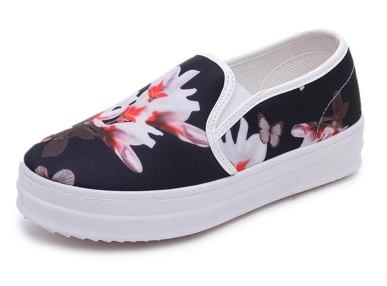 77cc00405129 Get Quotations · 2015 Fashion New White Canvas Slip On Shoes Women Sneakers  Ladies Platform Floral Canvas Shoes Slip