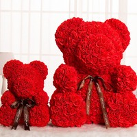 valentine Gifts Made in China Artificial PE Foam Rose Flowers Teddy Bear with Heart 25cm 40cm 60cm 70cm