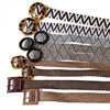 instock straw belt raffia belt woman belt with resin buckle elastic leopard print lady belts