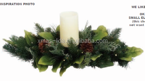Plastic Christmas Wreath with Candle indoor Window Decoration