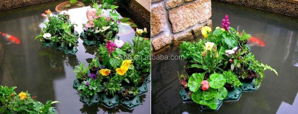 Hydroponic island gardens garden plastic floating plant for Plastic pond plants