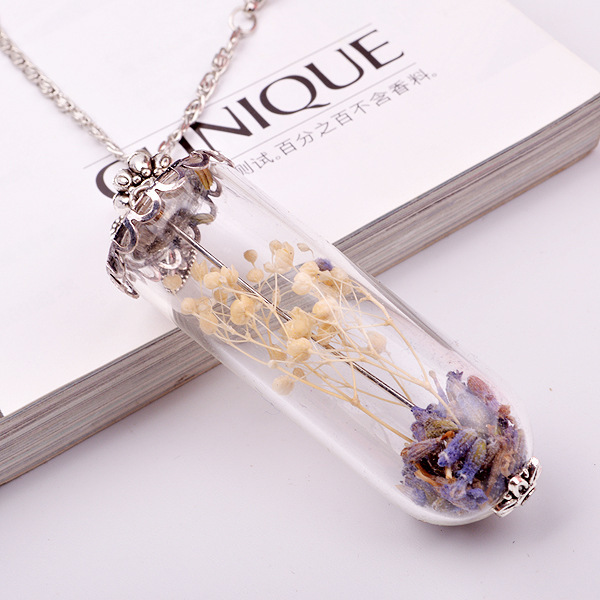 Small dry dried flower and lavender diy global glass bubble glass small dry dried flower and lavender diy global glass bubble glass pendant long chain necklace aloadofball Images