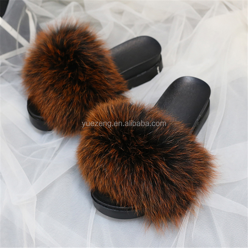 New design soft fur slippers/real fur slippers/ fur slide