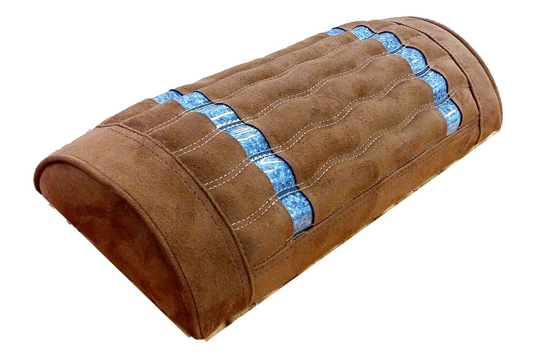 Far Infrared Amethyst Mat Pillow - Non Electric - Negative Ion - FIR - With Gemstone Crystals - Jewelry Grade Natural Amethyst - Memory Foam - Artisan Handmade in Korea - High End Brown Mini Pillow