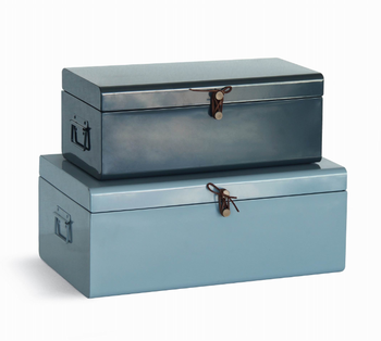 Set 2 Concise Decorative Metal Storage Boxes With Leather Accessories For  Clothes Storage
