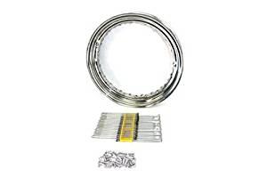"V-Twin 52-0300 - 16"" x 3"" Wheel Rim and Spoke Kit Chrome Steel"