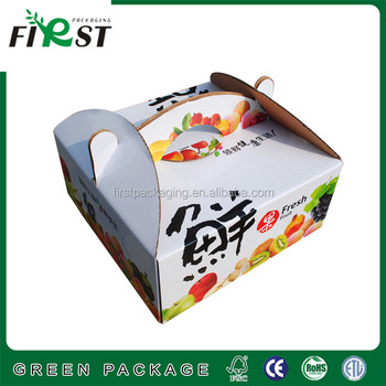 Custom Packaging Printing corrugated Gift Paper Box/paper cardboard fruit box packaging with handle/fruit paper box with handle