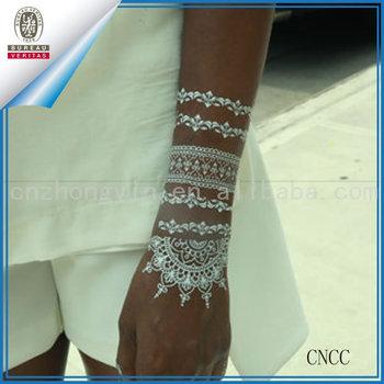 White Henna Wedding Tattoos Floral Design Temporary Tattoo Stickers