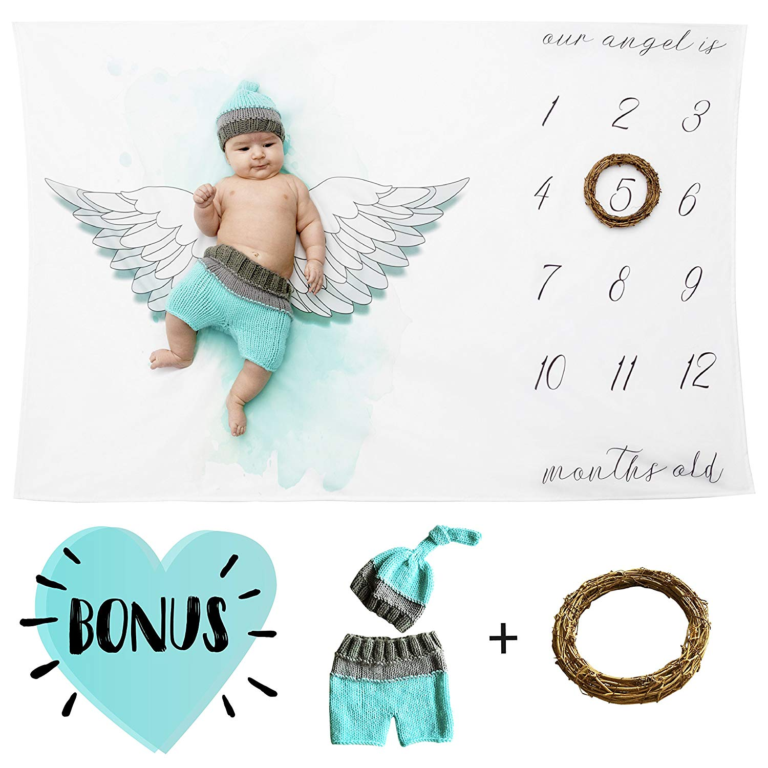 Baby Milestone Blanket-Set Includes: Blanket,Newborn Outfit Cloth Crochet and Leaf-Frame | Great New Mom Shower Gift For Toddler Boys and Girls To Track Monthly Growth | Swaddle Blanket For Photo Prop