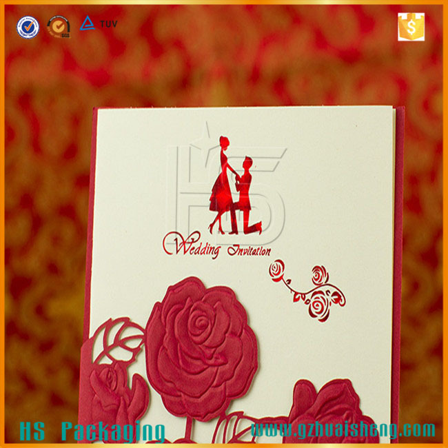 Classic Romantic Laser Cutting Red Rose Paper Quilling Wedding Invitation  Card