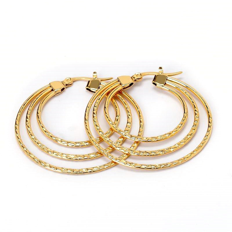 Large Gold Loop Stainless Steel Fashion Latest Jewelry Personality Hoop Earrings For Women 2019