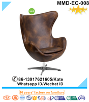 Unique evolution cowhide leather lounge egg chair