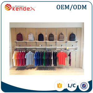 wall mounted metal T-shirt and backpack display shelf for kiosk advertising