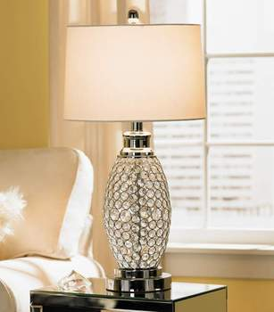 1015 6 Exquisite Transitional Style Fantastic Beaded Faux Crystal Table Lamp With Simple White Drum Shade