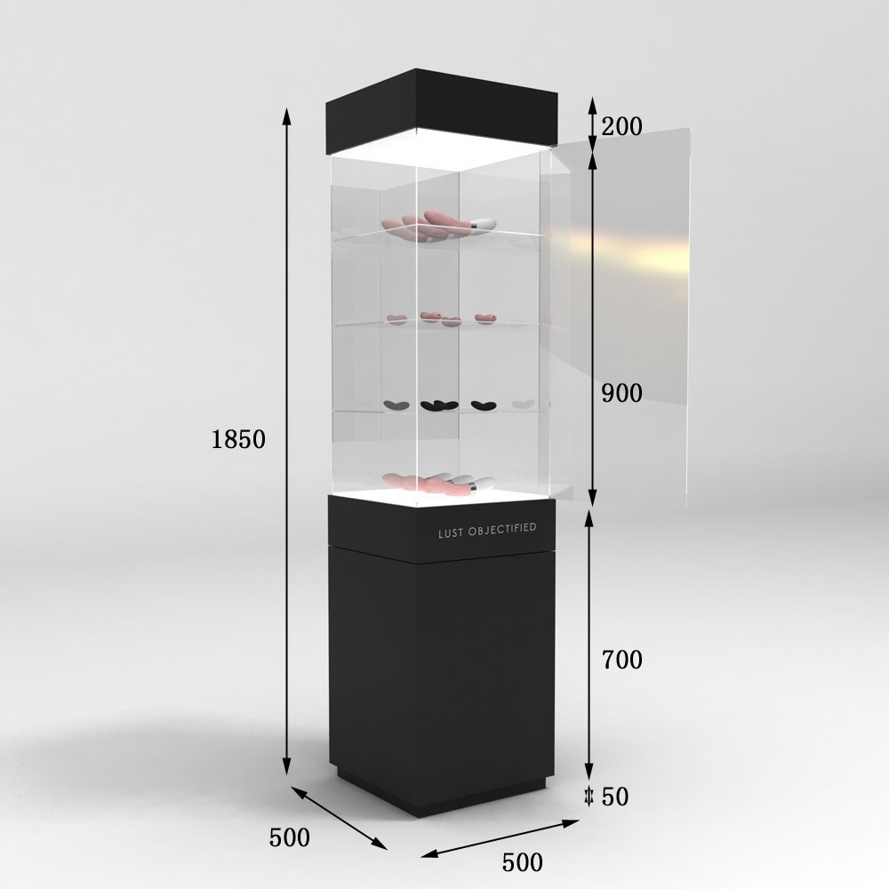 Free Standing Lockablel Glass Display Showcase With