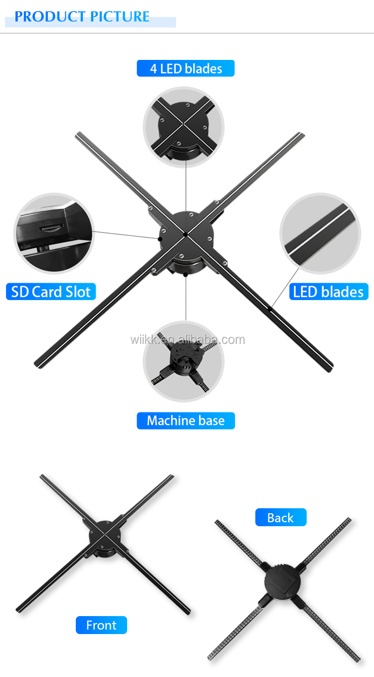 Wiikk 65cm 100cm 3d Fan Hologram Display Advertising Hologram 3D Fan for Indoor Advertising