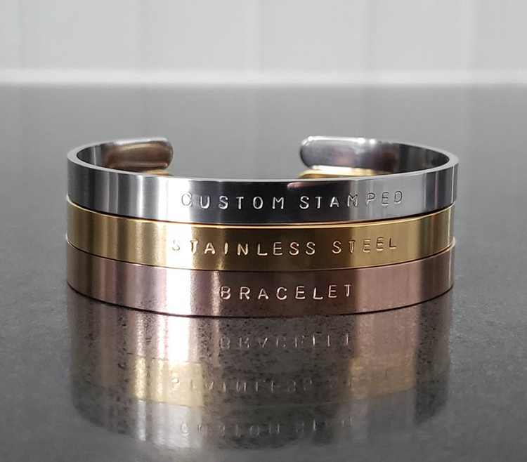 Personalized Bracelet Hand Stamped Stainless Steel Engraved Message Cuff Bracelet