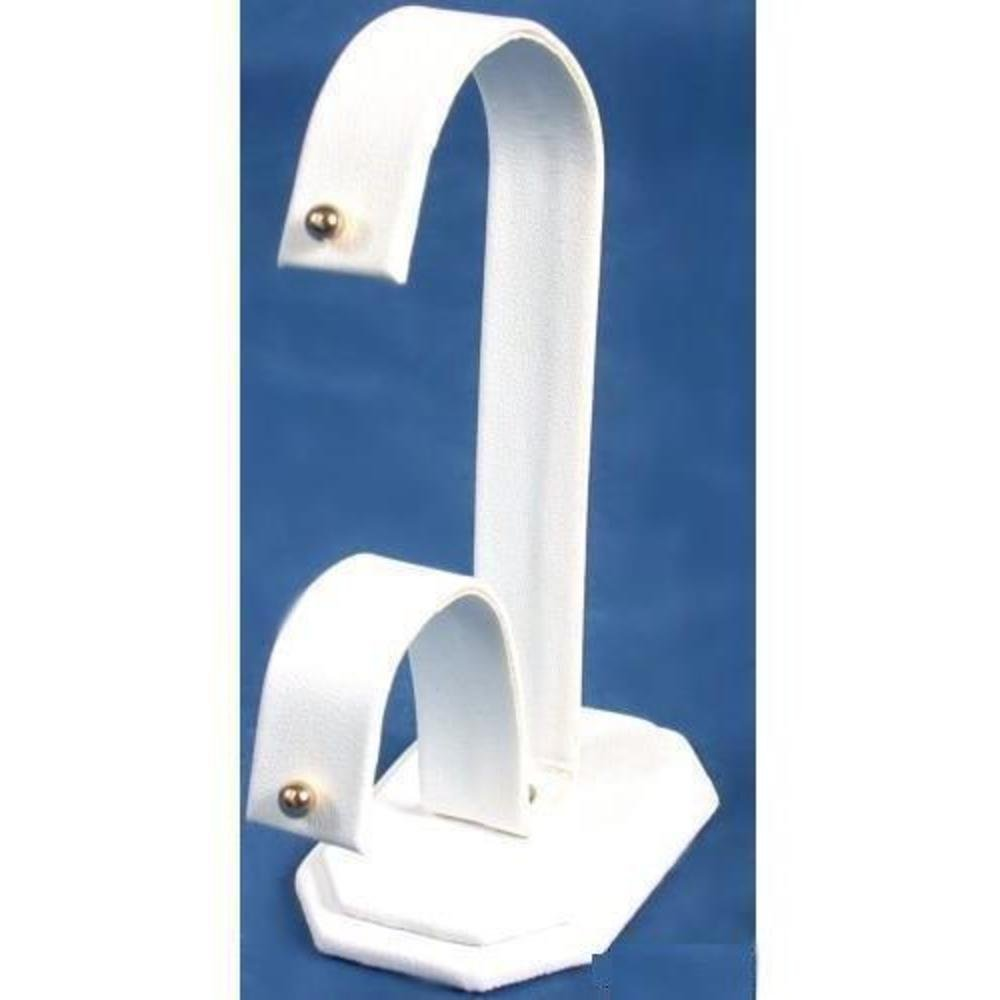 Earring Display White Leather Showcase Countertop