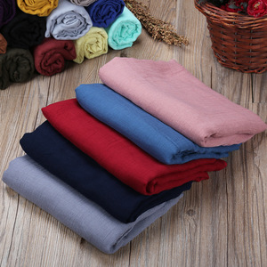 Spring Autumn Color Soild Cotton Linen Scarf Oversize Monochrome Classic Sunscreen Shawl Beach Towel Hijab Scarf Plain