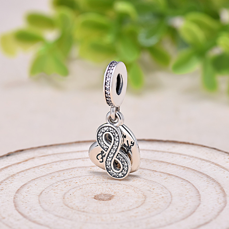 Antique 925 silver infinity and Forever Friends saying heart charm for friendship bracelets