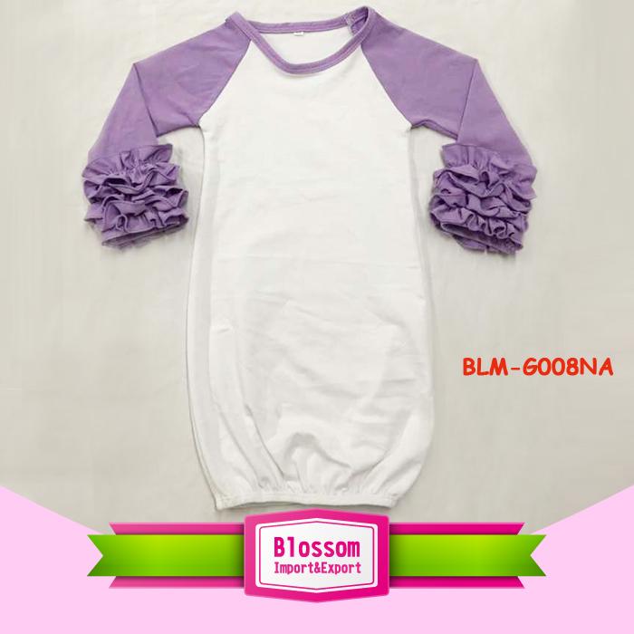 Newborn White Blank Baby Sleeping Gown Baby Long Sleeve Icing ...