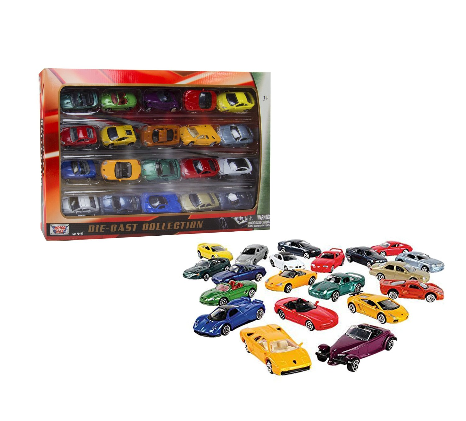 Constructive Playthings Die-Cast Authentic Super Wheels Classic Metal Cars – Great For Car Lovers – Luxury Models Range from Porsche and BMW to Mini Cooper and Mustang – BPA and PVC Free – 20 Piece