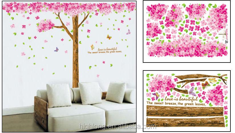 Indah Peachblossom Bunga Merah Muda Pohon Untuk Kamar Tidur Hiasan Dinding Stiker Buy Dinding Kawat Pohonpohon Keluargadekorasi Kamar 3d Stiker