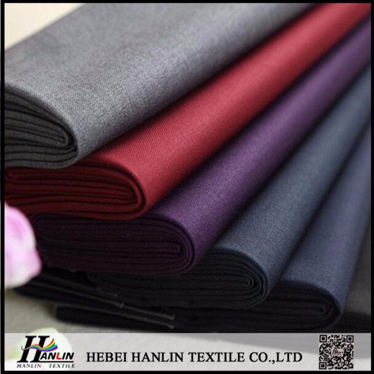 fashion polyester rayon plain dyed woven twill tr shiny suiting fabric with custom English selvedge