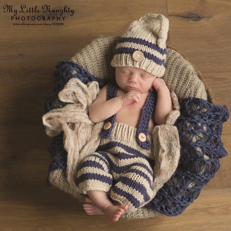 153b064a1cefa New 2015 Newborn baby crochet knitted handmade infant 0-3month blue striped  photography props disfraz bebe atrezzo fotografia - Unfair Weight