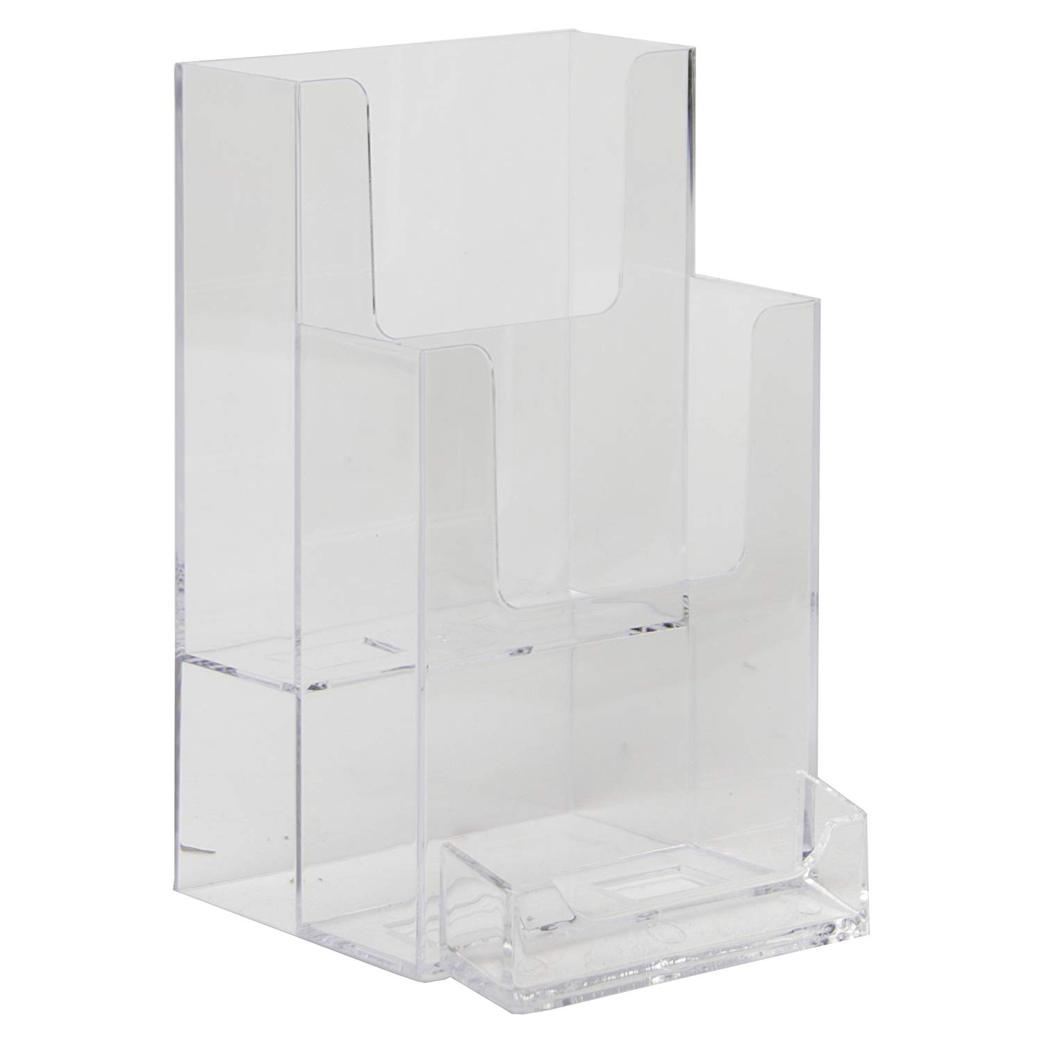 Clear-Ad - LHF-P102 - Acrylic 2 Tier Trifold Brochure Display w/Business Card Pocket - Plastic Literature Holder for Flyers, Booklets, Bills, Mail, Letters, Cards, Pamphlets, Maps (Pack of 2)