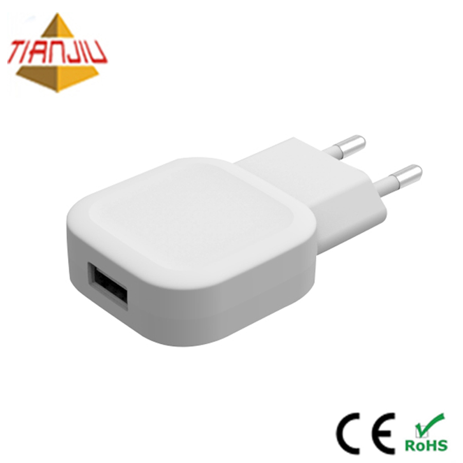 CE RoHS 5V 2A 2.1A 2.4A USB port power travel adapter wall charger for iPhone/android cell phone