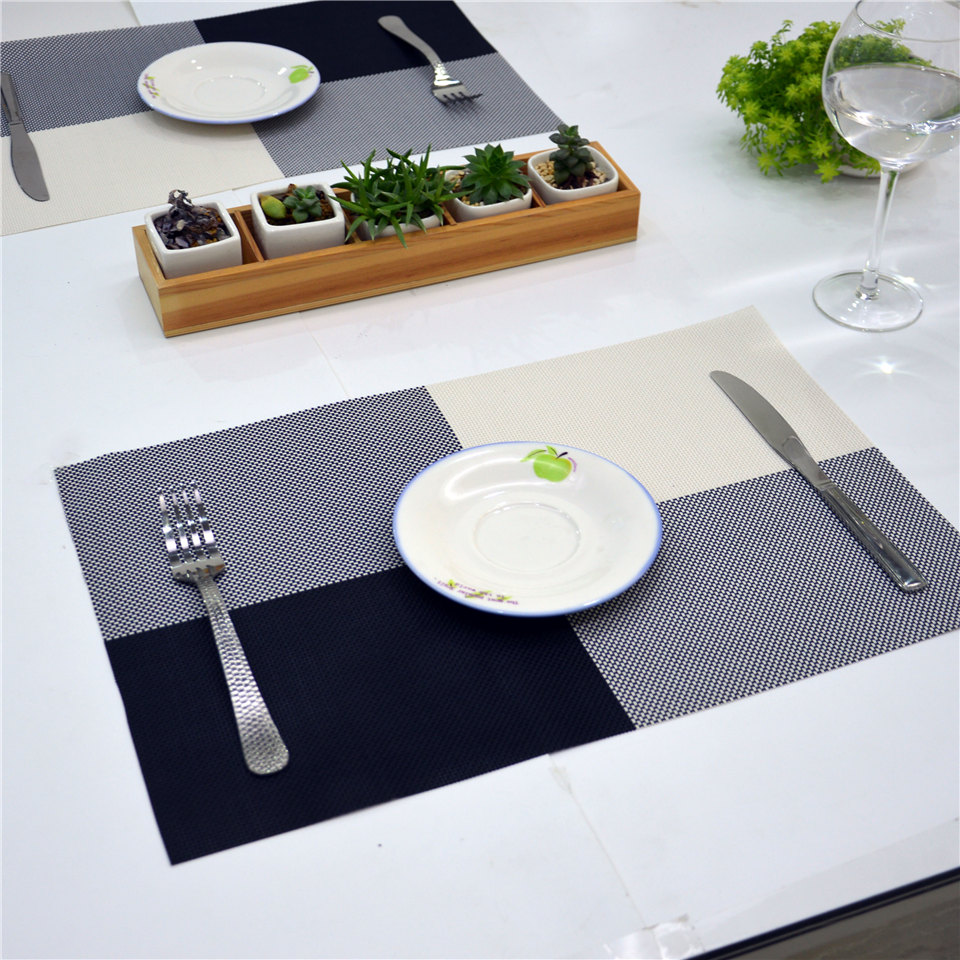 Customized High quality PVC table dining plate dish mats for restaurant plastic woven placemat 45cm*30cm