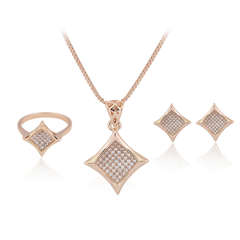 Gold Square Fancy Diamond Pendant Necklace Ring Earring Set - Buy ... cc95dfe59