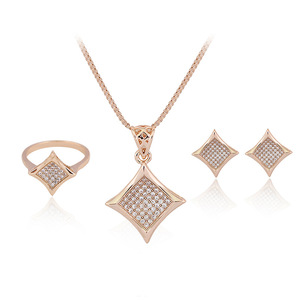 Gold square Fancy Diamond Pendant Necklace ring earring set