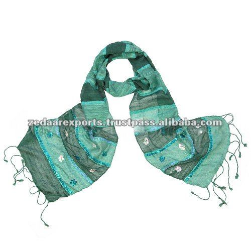 Handwoven trendy silk scarf with sequins