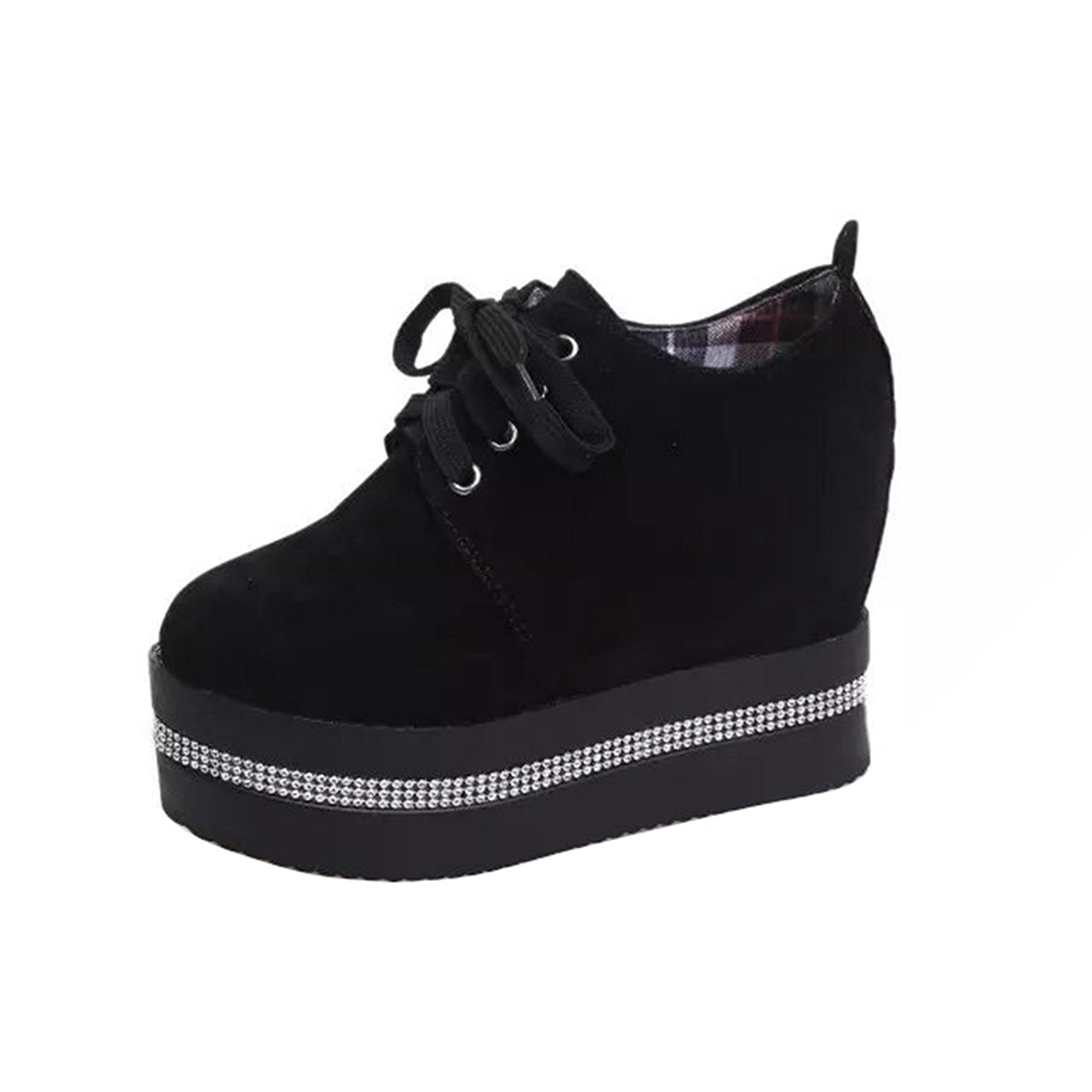 VFDB Fashion Rhinestone Platform Creepers Womens Faux Suede Lace-up Oxford Shoes