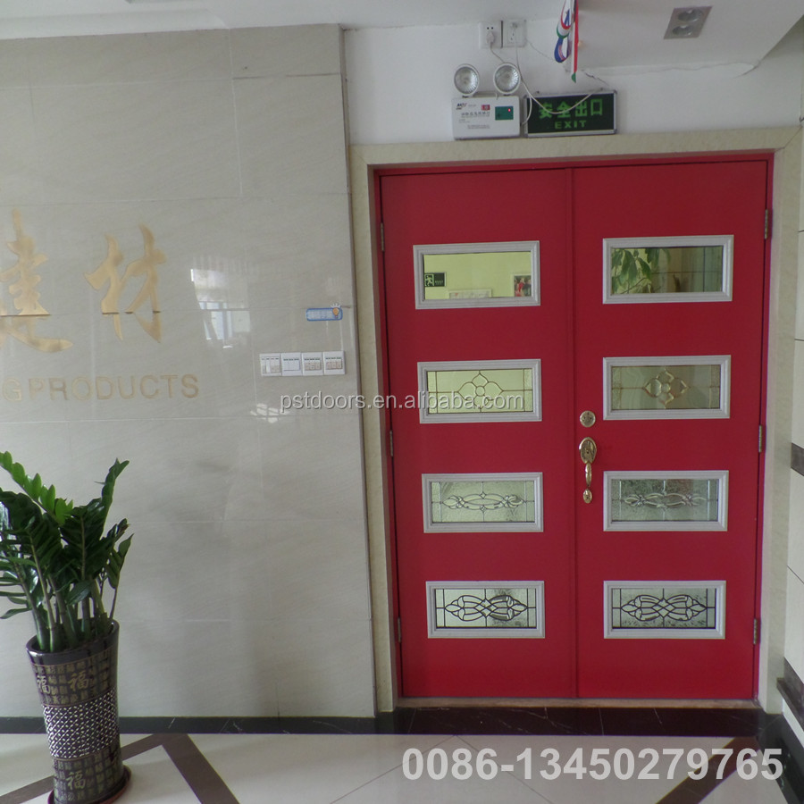 Double Full View All Steel Security Door,flush metal door,interior metal door