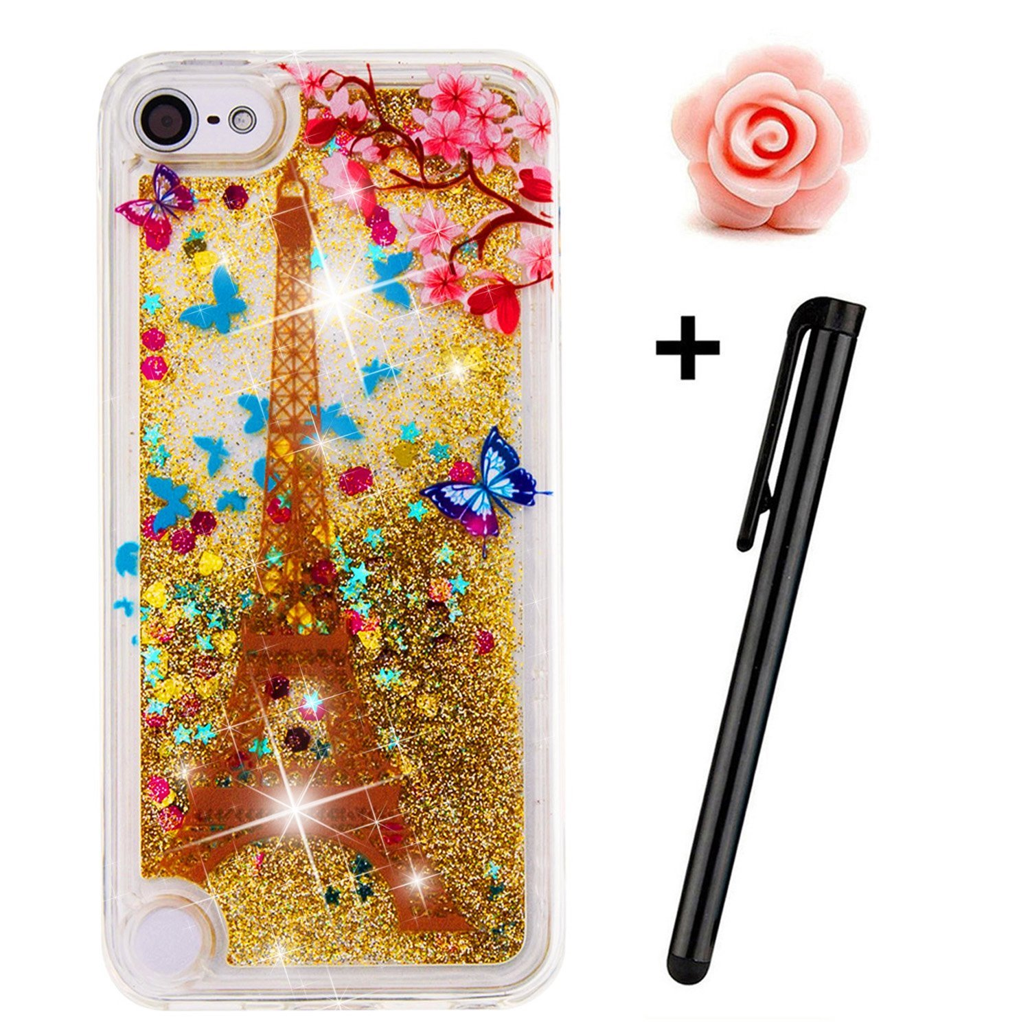 los angeles 007c0 757ad iPod Touch 5 Case,iPod Touch 6 liquid case,TOYYM 3D Creative Glitter Liquid  Bling Transparent Sparkle Floating Soft Tpu Case Cover for Apple iPod ...