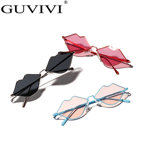 GUVIVI Kiss sunglasses wholesale small lovely lip shaped Stainless steel sunglasses