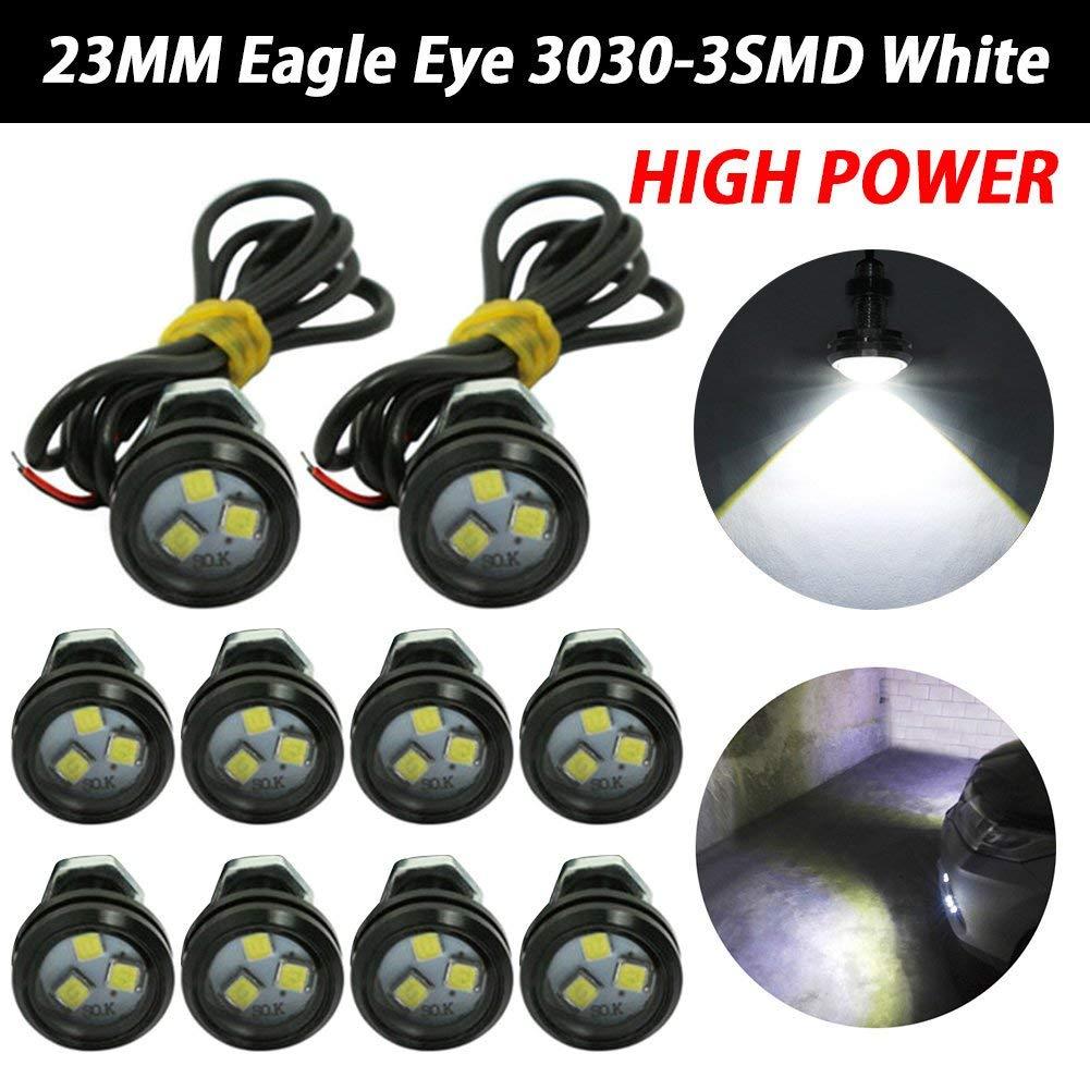 TABEN 10pcs 23mm 9W LED White Eagle Eye Car Light High Power 3030 Chipset Car Motorcycle Daytime Running Light DRL Parking Tail Reverse Backup White Bulbs