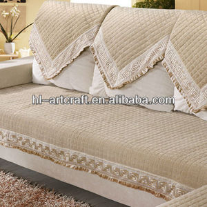 New lace linen cloth embroidery yellow sofa cover YH101