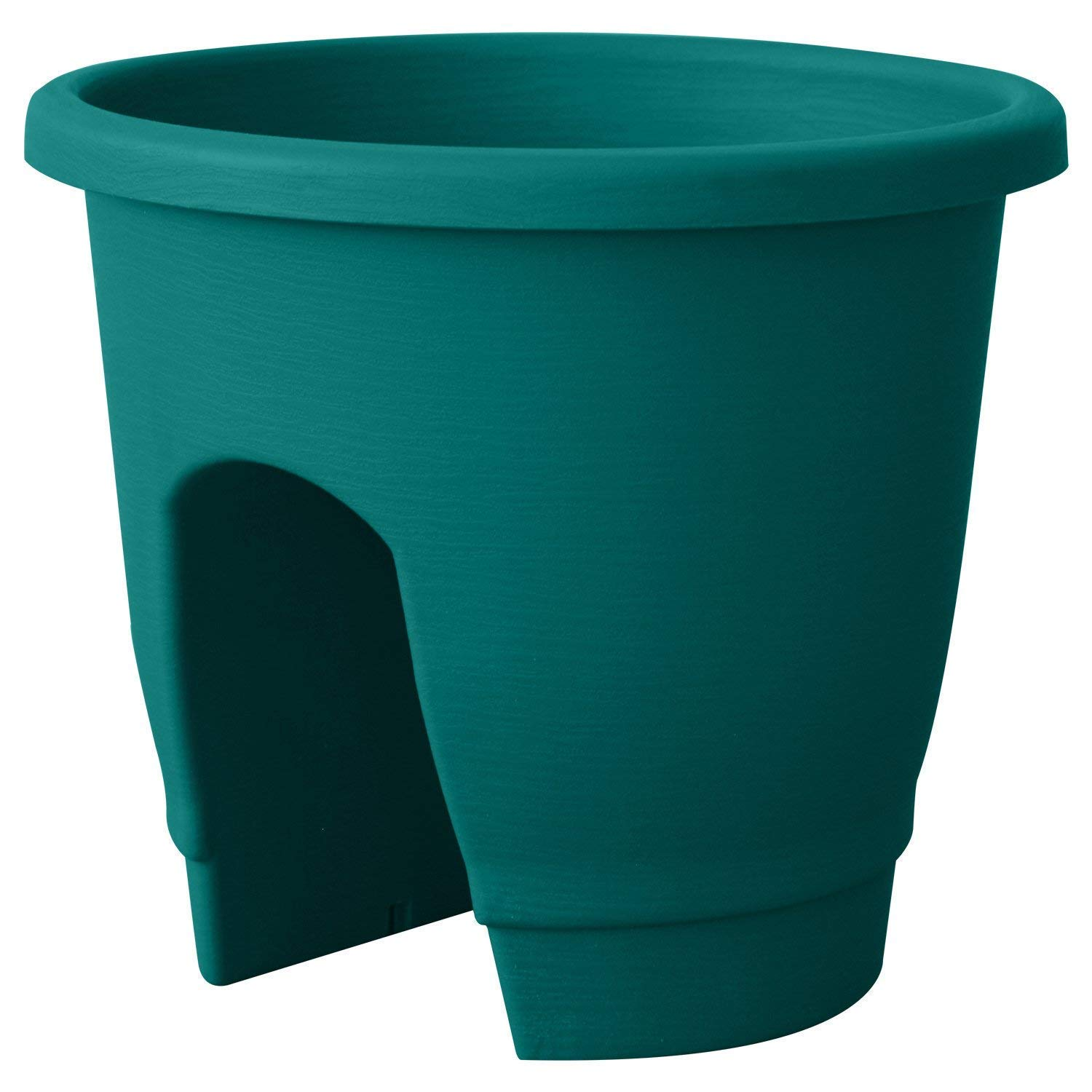 ALMI Balcony Deck Rail Planter Box with Drainage Trays, Bloomers Railing Round Pot, Drainage Holes, Weatherproof Resin Planter, 12 Inch, Indoor & Outdoor, 2 Pack, Turquoise