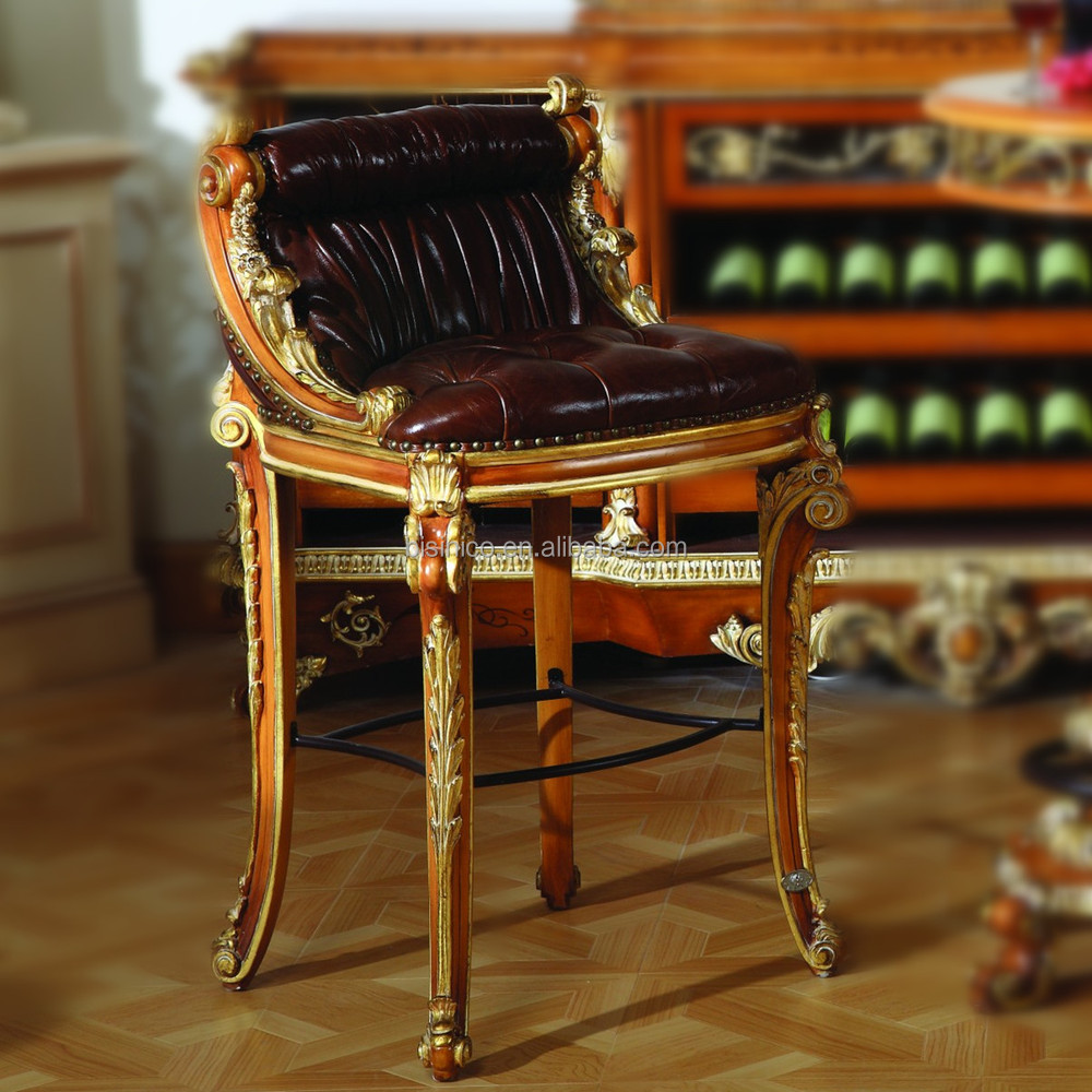 Luxury French Style Baroque Style Home Bar Stool Antique