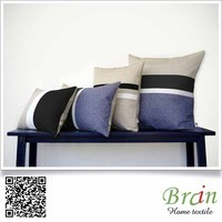 Black and White Chambray Striped Lumbar Pillow (12x20) Modern Home Decor (Custom Colors Available)